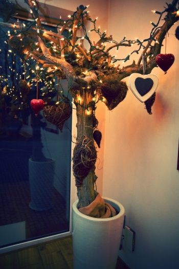 Xmas tree with hearts and lights