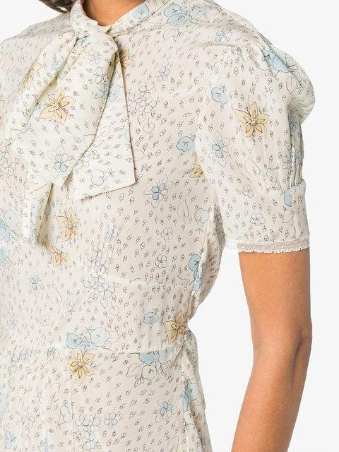 1502b352833 Miu Miu silk printed pussybow midi dress  MiuMiu