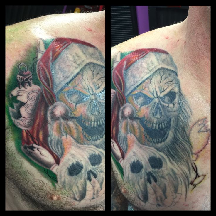 Pin By Anthony Martin On Tattoos: Evil Santa Work In Progress