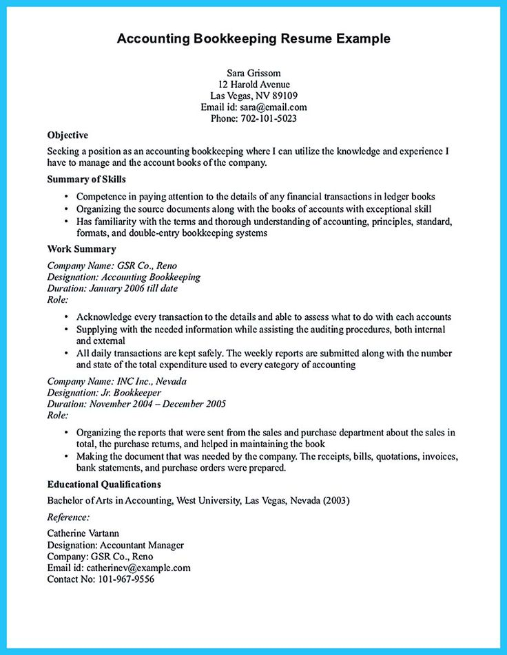 Bookkeeper Resume Cover Letter - http\/\/wwwresumecareerinfo - sample bookkeeping resume