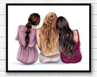 Best friends 4 best friends friendship print friend art | Etsy