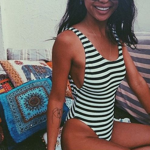 Sexy Fashion Backless Stripe One Piece Swimwear Bikini Swimsuit