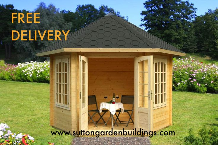 Octagonal corner summerhouse garden office sheds for Corner garden office