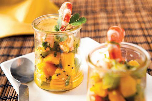 Recette : Tartare kiwi et mangue aux crevettes