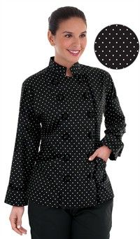 Style # 83313POD: Chaqueta de Chef Tradicional Polka Dot para Mujer - Botones Forrados en Tela - 100% Algodón