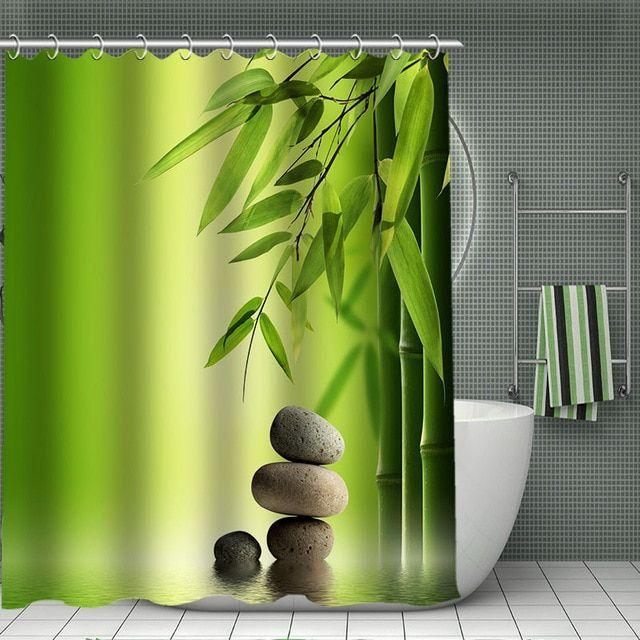 Spa Stones Bamboo Shower Curtain Modern Polyester Fabric Custom