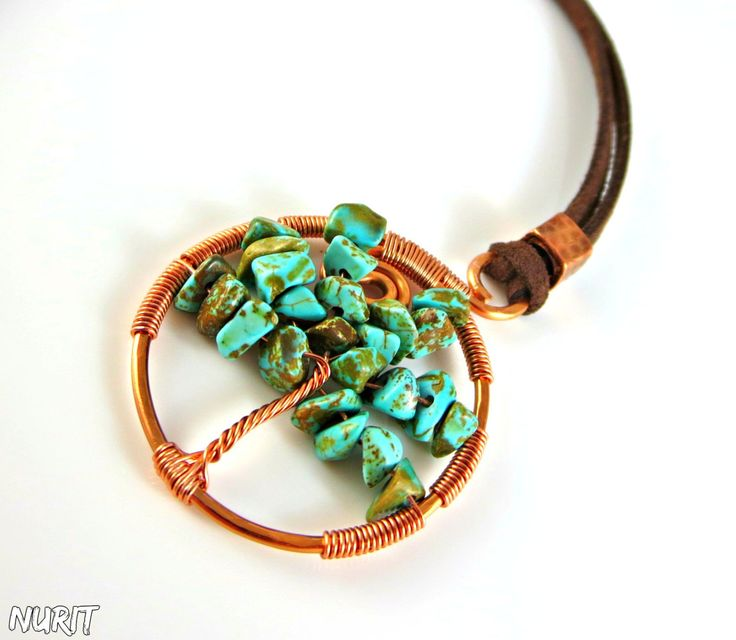 #Turquoise, #treenecklace, #copper, #pendant, #treeoflife, #wirewrapped pendant, #turquoisenecklace, #copperjewellery by NuritJewellery on #Etsy
