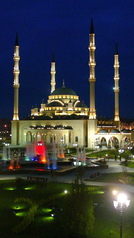 Ahmad Kadyrov Mosque, Grozny, Chechnya, Russia at night