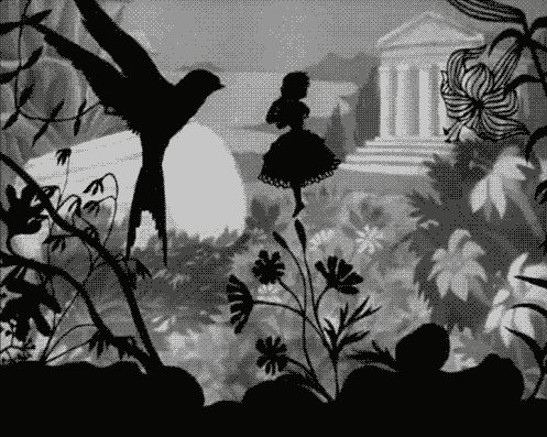 """Thumbelina"" (1954) - Lotte Reiniger from http://sun-star-n-moon.tumblr.com"