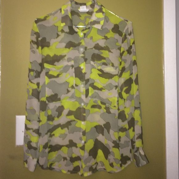 Club Monaco sexy sheer camo shirt xsmall Can't hide the sexy of this camo sheer club Monaco shirt size xsmall cute cute 100% silk Club Monaco Tops