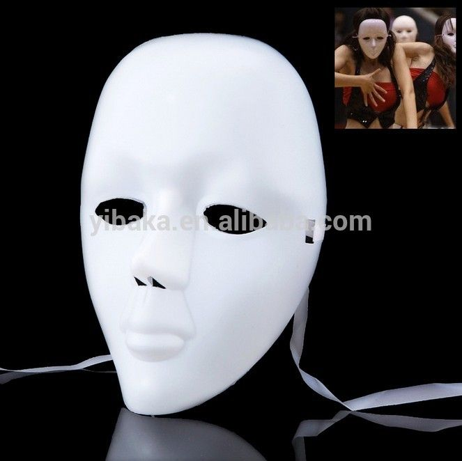 Hang plain white masks from tree