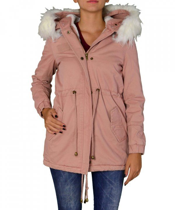 Γυναικείο παρκά με γούνα και κουκούλα ροζ FD196G
