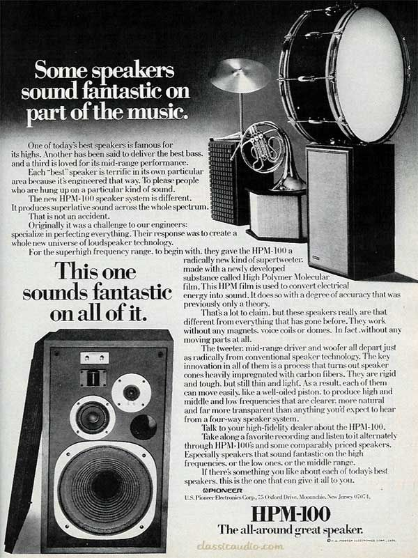Vintage ad for Pioneer HPM-100 speakers. | Vintage Electronics | Pinterest | Vintage, Audio and ...