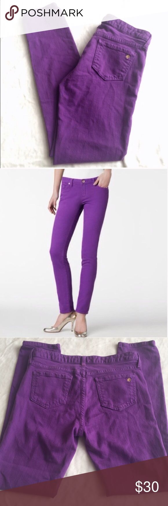 Kate Spade Broome Street Skinny Jeans Gorgeous purple (eggplant) skinny jeans by Kate Spade New York. Gold toned Kate Spade logo stitched on back pocket and in detail of all buttons. Size 29. In excellent condition with no flaws. ❌Trades/holds❌ I ship within 2 business days of your order. I accept REASONABLE offers. Poshmark rules only. Thank you for 👀! 🐩🚭B5 kate spade Jeans Skinny