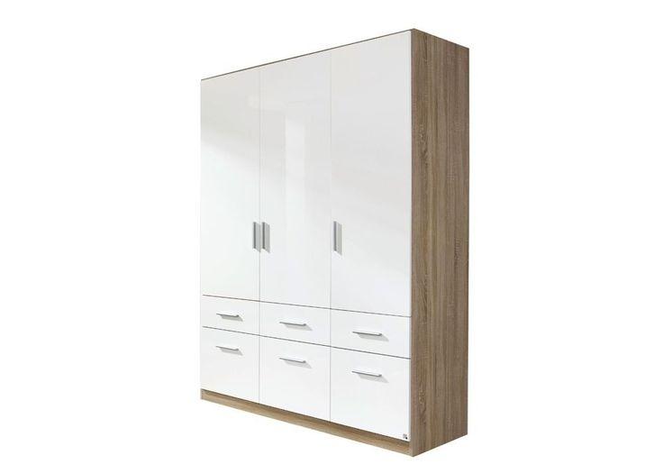 Kleiderschrank Celle 136,0 cm Sonoma Weiß 8269. Buy now at http://www.moebel-wohnbar.de/kleiderschrank-celle-3-tueren-136-0-cm-sonoma-hochglanz-weiss-8295