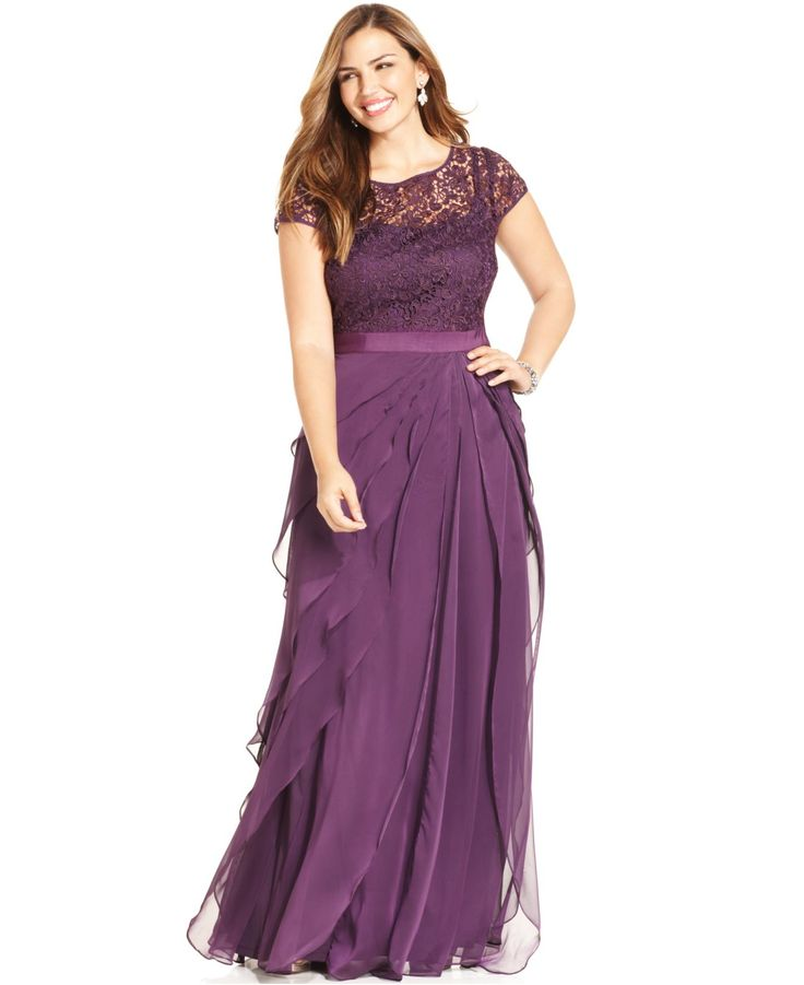 Adrianna Papell Plus Size Cap-Sleeve Lace Tiered Gown - Dresses ...