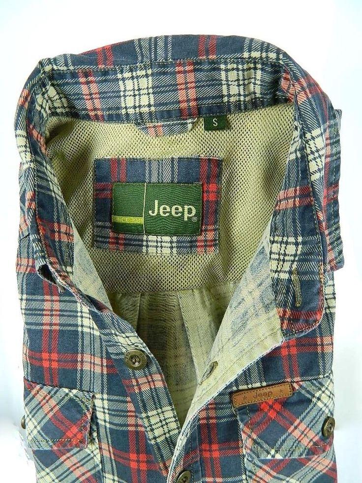 Jeep Motors 4x4 Plaid Multi Color Button Front Long Sleeve Shirt Mens Small #Jeep #ButtonFront