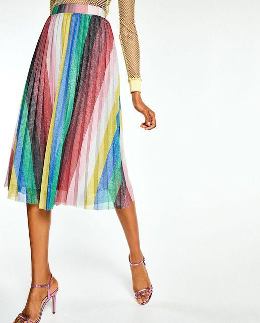 0a22fb92f Falda plisada de mujer Sfera de rayas · Sfera · Moda · El Corte ...