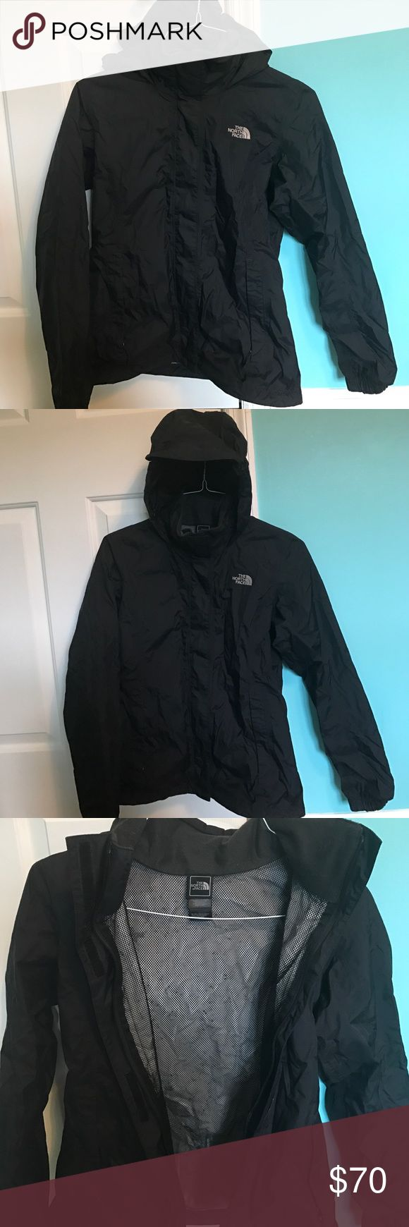 The NorthFace women's rain jacket Black women's rain jacket, size small, attached hood, pockets with zippers, zipper closure with Velcro over it. Lightly worn and in perfect condition The North Face Jackets & Coats Utility Jackets