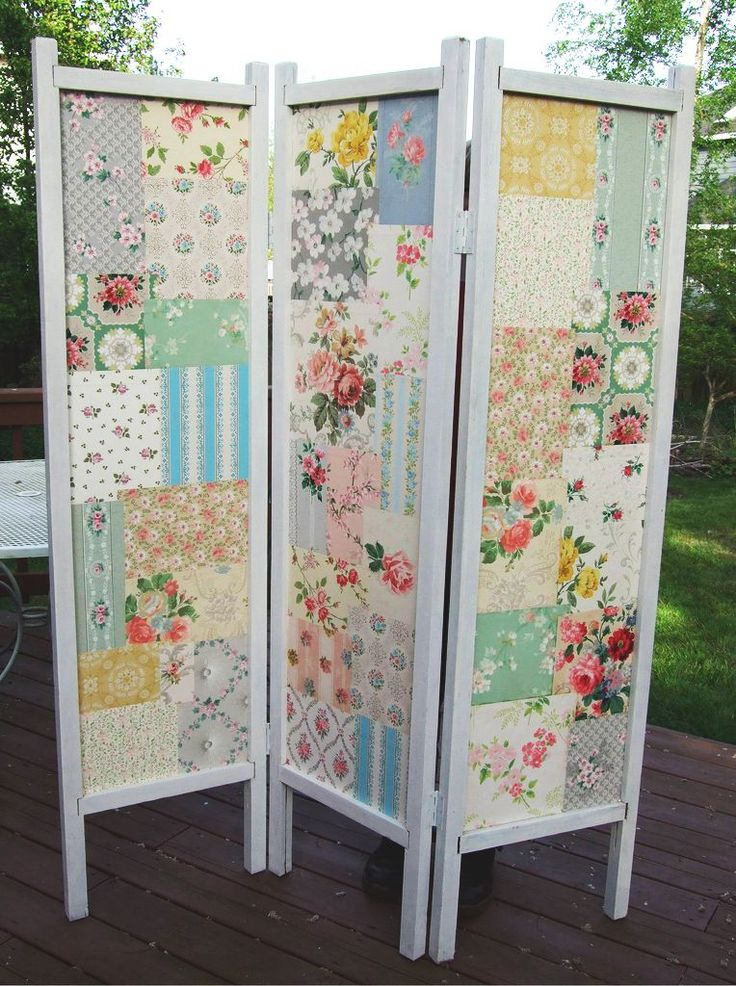 Patchwork screen made from vintage fabrics/hankies. Could do the same with new fabrics as well.