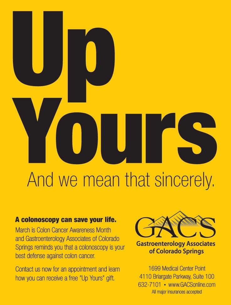 #Colonoscopy - Up Yours - Colonoscopy Ad. Get your ...