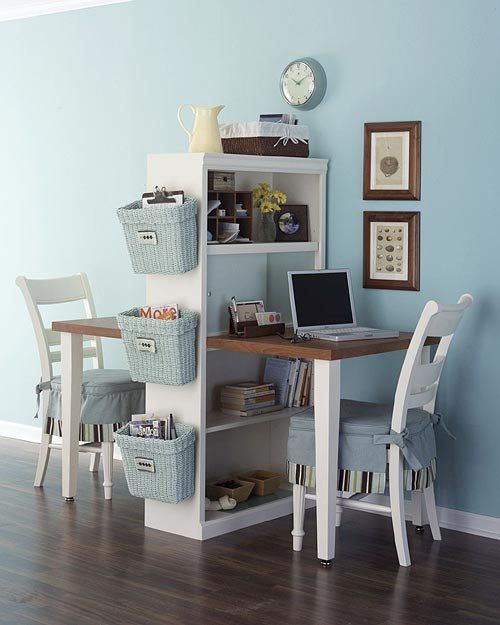 Cut a table in half, add a shelf... click.... very easy and a great idea if you have children sharing a room.