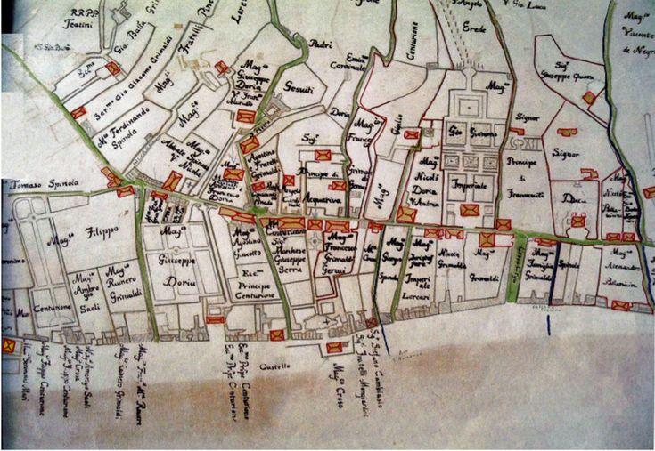 Carta di Matteo Vinzoni del 1757 con indicazioni delle singole proprietà di vile e terreni