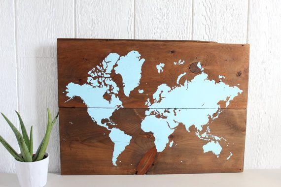 "26""x19"" World Map Rustic Home Decor Rustic World Map by TealBlueStudio"