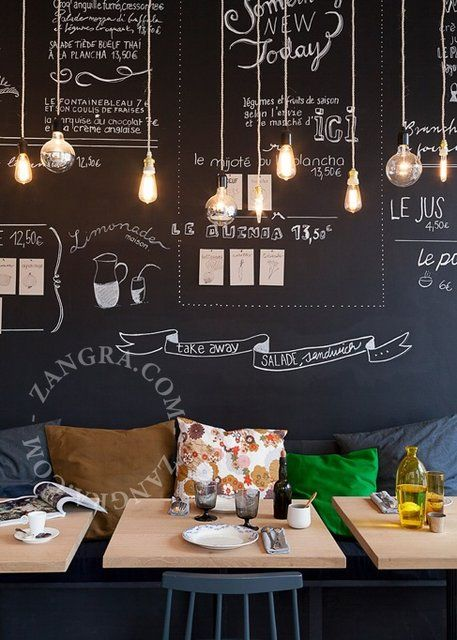 Interiors inspiration- giant black board guest book with white pens/chalk that can be kept or photographed