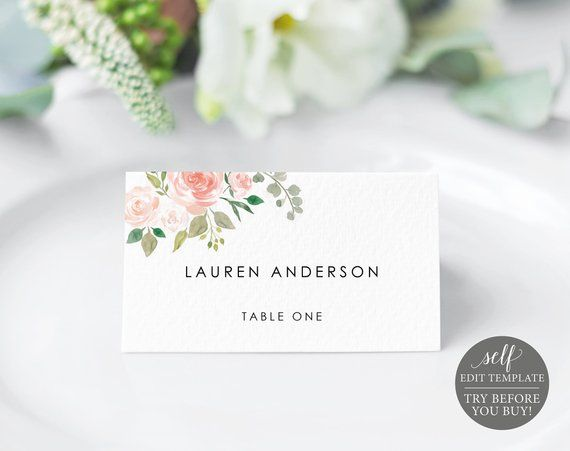 Place Card Template Blush Floral Try Before You Buy Etsy In 2021 Wedding Seating Cards Place Card Template Wedding Invitation Templates