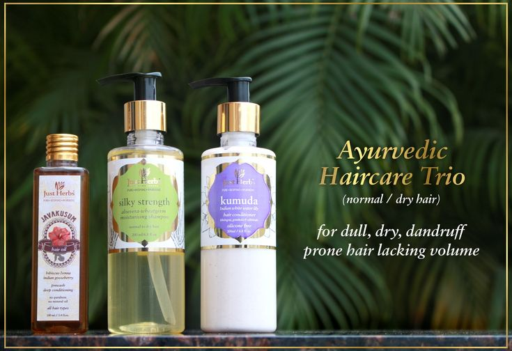 The 3 step ayurvedic haircare trio for dull, dry, dandruff prone hair lacking volume. It consists of: 1. Javakusum hair oil 2. Silky Strength Aloevera Wheatgerm shampoo 3. Kumuda conditioner
