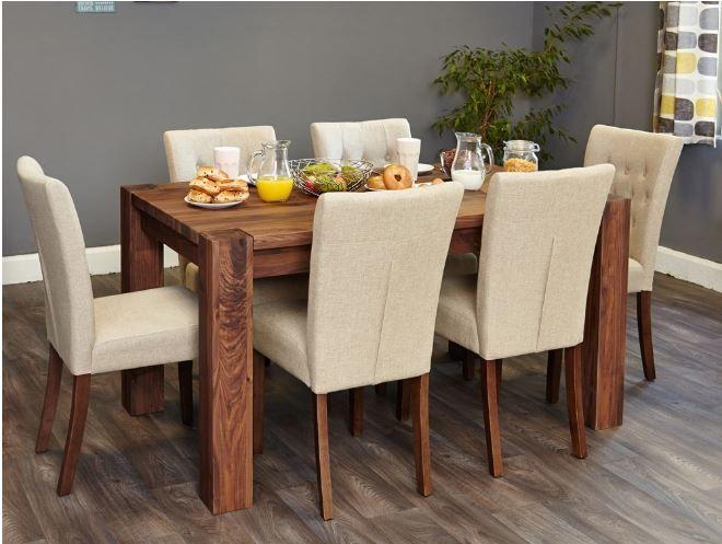 Baumhaus Shiro Walnut 150cm Dining Table 4 6 Seater Cdr04b