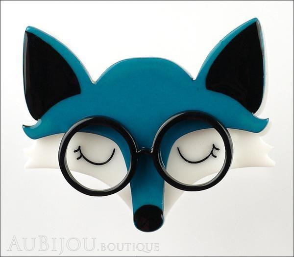 Erstwilder Brooch Pin Emry The Asleep Fox Turquoise Front