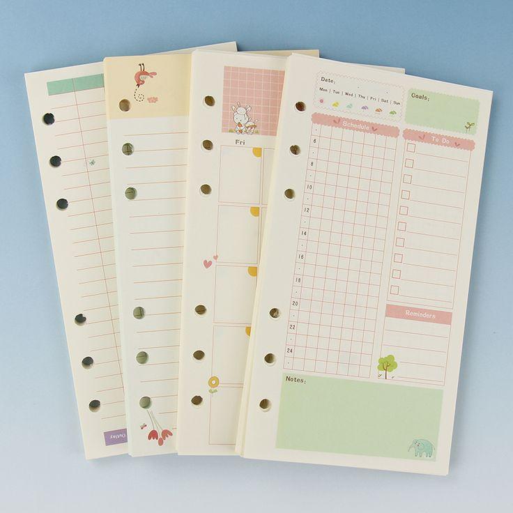 1ピースa6かわいいカラフルな日記リフィルスパイラルノートブック置き換える色コア文房具ギフトスクールプランナーリングバインダー紙