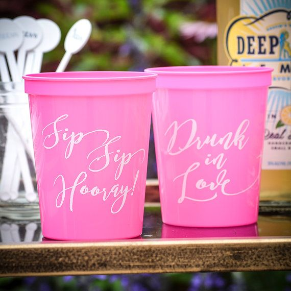 50 Personalized Bachelorette Party Cups by GraciousBridal on Etsy