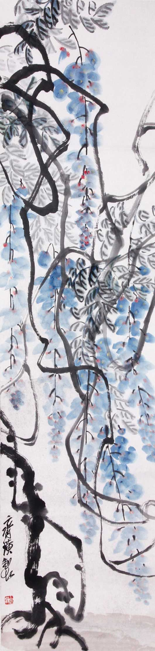 Qi Baishi (齊白石, 1864~1957) was an influential Chinese painter, noted for the whimsical, often playful style of his watercolor works; born to a peasant family from Xiangtan, Hunan, he became a carpenter at 14; learned to paint by himself.