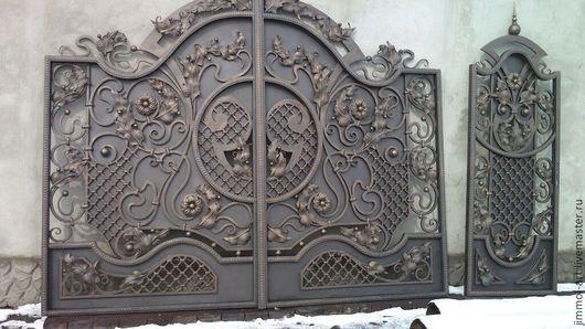 Экстерьер и дача ручной работы. Ярмарка Мастеров - ручная работа. Купить Кованые ворота. Handmade. Коричневый, кованые ворота
