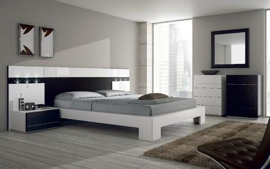 Dormitorio de matrimonio con elegante cabezal negro detalle en blanco brillo l nea color - Dormitorios con muebles blancos ...