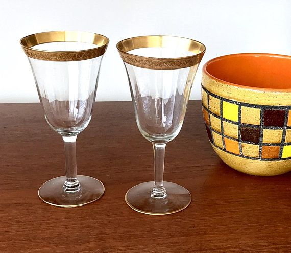 Tiffin Franciscan Minton Clear Glasses Gold Encrusted Rimmed Water