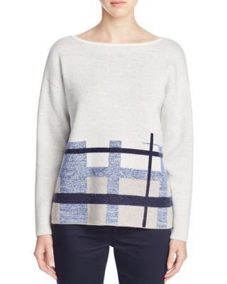 Lafayette 148 New York Brushed Jacquard Plaid Sweater | Bloomingdale's