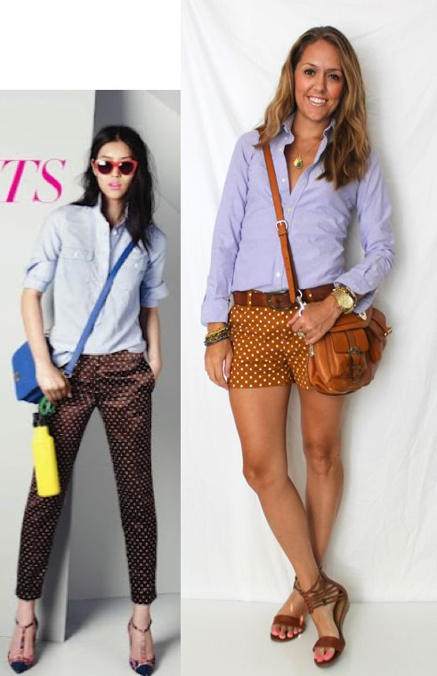 oxford shirt w/ polka dot shorts