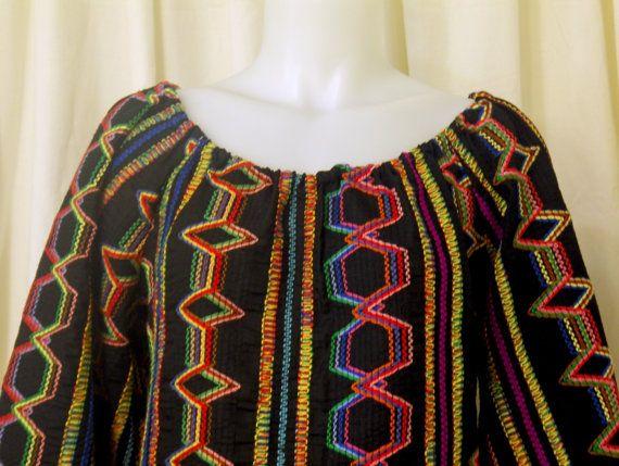 Black Cotton & Multi-colored Embroidery Long Sleeve  Día de