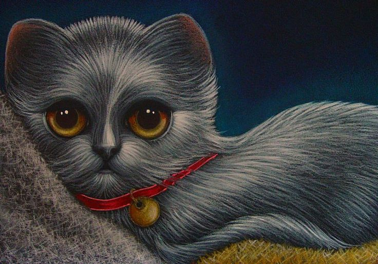 """Silver Kitten Cat with Red Collar"" par Cyra R. Cancel"