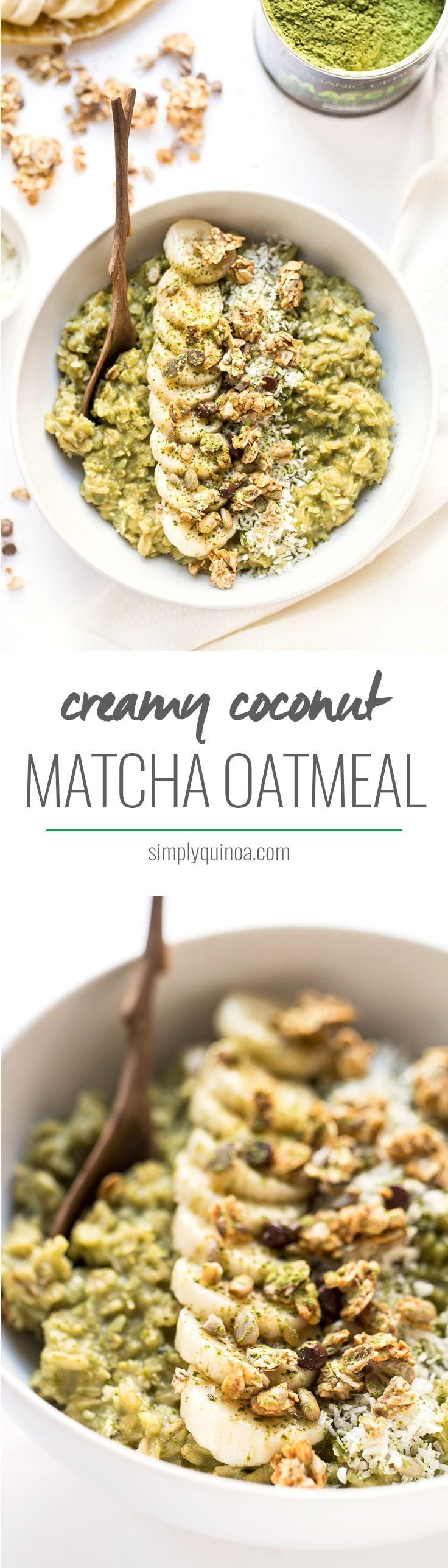 These Creamy Coconut Matcha Oatmeal bowls are the perfect, warming breakfast! Packed with antioxidants and fiber, it's the perfect way to start your day!