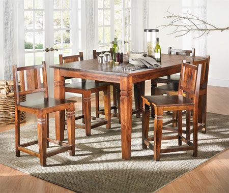 Logan Square Dining Table Solid Sheesham 70 Inch Counter Height