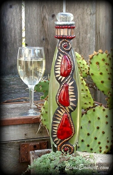 """""""Prickly Pear"""" Mosaic White Wine Decanter"""