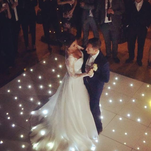 First dance.  Dancefloor by @venuestylist. #romance #gaynespark #dancefloor #gaynesparkwedding #gaynesparkmillbarn #firstdance #bride #groom #weddingday #wedding #weddingvenue #essex #barnweddings #rustic #chic #style #weddingdress #venuestylist #decor #weddingfilm #weddingphotography