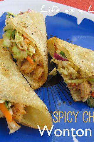 Spicy Chicken Wonton Tacos