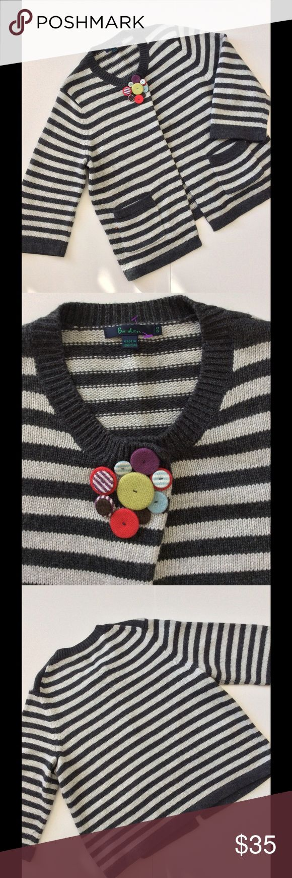 "🆕Listing Boden Sweater US Sz 14-16; UK Sz 20 Soft charcoal and light grey accented with colorful colored buttons over the snap closure. Two front pockets. Bracelet sleeves. Gently worn. Mild pilling in a couple spots. No other sign of wear. U.K. Size 20 fits US 14-16 or XL. This style has a lot of give in sizing with single snap closure at the neckline. 23.5"" armpit to armpit length 25"" from shoulder. Sleeve length 20"" 🎀Bundle discount  ⭐️5 star rated Suggested User 🚭Smoke free home 🚫No…"