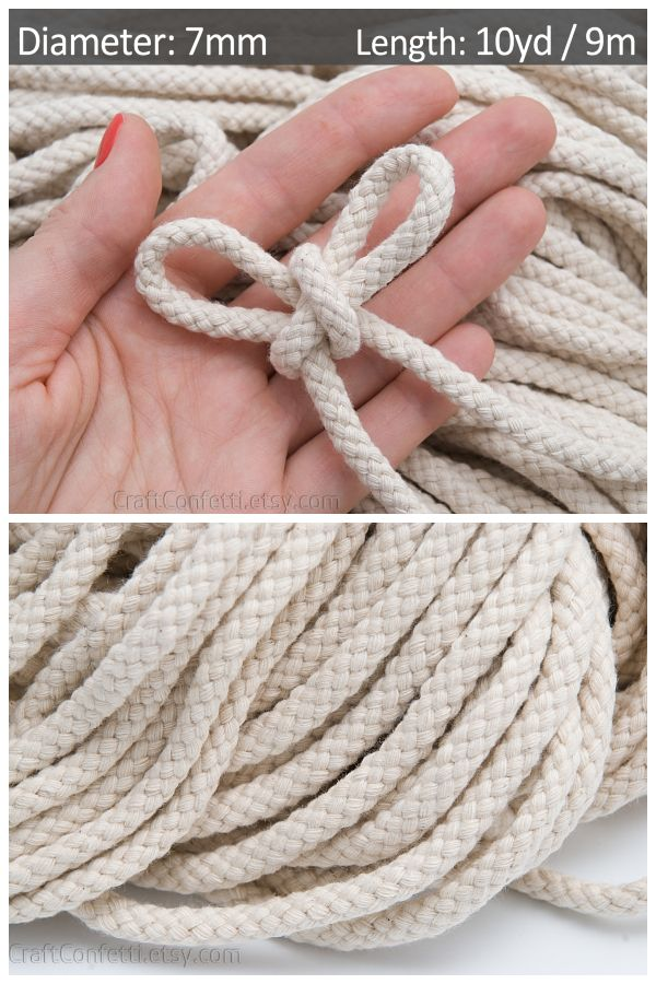Ivory cotton rope 7mm  Macrame cotton cord  Braided cord